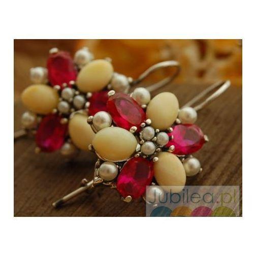 ADRIANO - srebrne kolczyki perły, rubiny i bursztyny, kolor czerwony