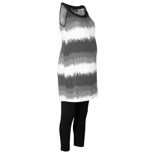 Bonprix Komplet ciążowy: sukienka + legginsy rybaczki czarno-biały w graficzny wzór