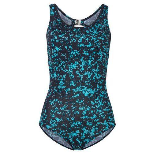 Kostium kąpielowy z szybko schnącego materiału bonprix czarno-turkusowy z nadrukiem, w 6 rozmiarach