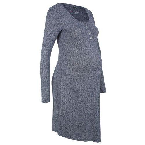 Sukienka shirtowa ciążowa i do karmienia piersią indygo melanż, Bonprix, 32-50