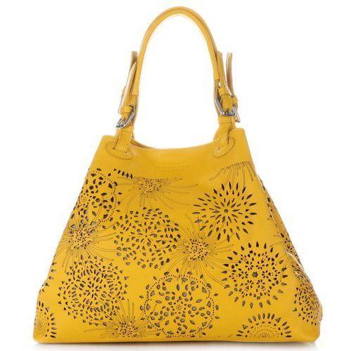 f7dd42c21e2c2 Vittoria Gotti Modna Ażurowa Torba Skórzana w rozmiarze XXL Żółta (kolory)