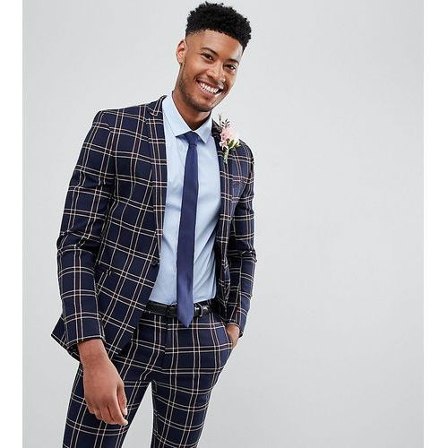 e9a8bf23daf8b Asos design tall wedding super skinny suit jacket in navy waffle check -  navy