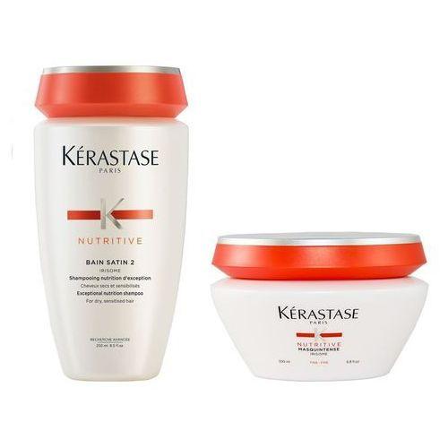 Zestaw do włosów suchych i uwrażliwionych | satin 2 bain 250ml, masquintense maska fine 200ml Kerastase