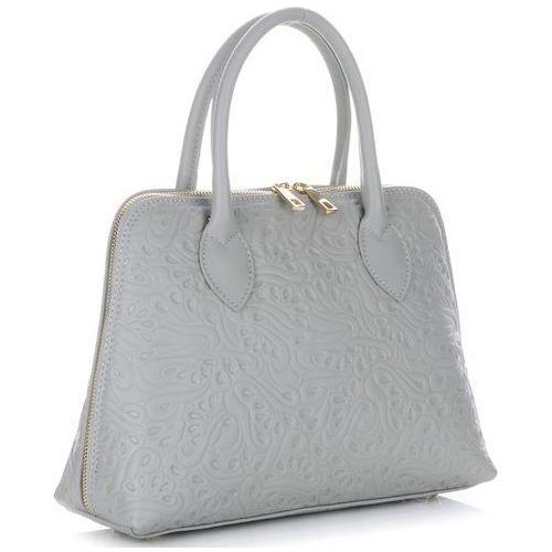 3cbf78de02ddc Torebki skórzane kuferki w tłoczone wzory firmy jasno szare (kolory) marki Genuine  leather -