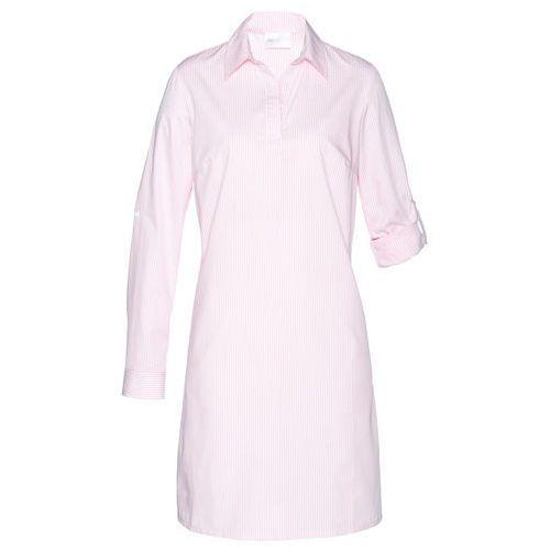 Bonprix Sukienka szmizjerka biało-pastelowy jasnoróżowy w paski