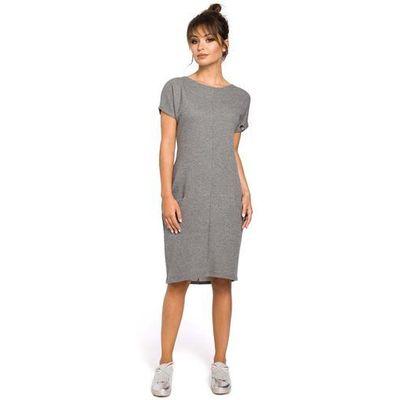 0046539a38 Dresowa szara sukienka midi z kieszeniami w szwach