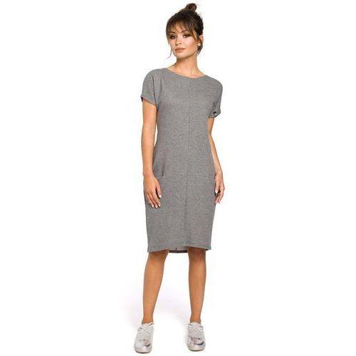 edb6a426a4 Dresowa szara sukienka midi z kieszeniami w szwach (MOE) - sklep ...