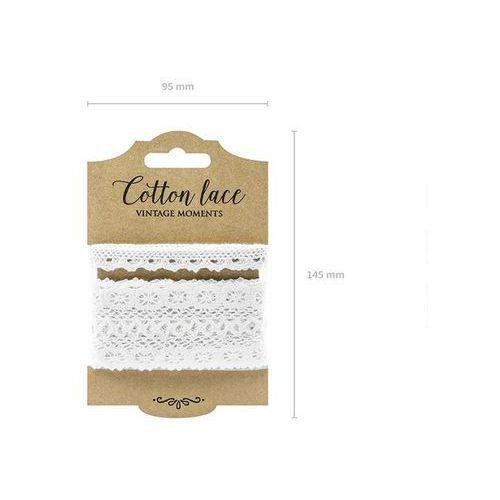 Zestaw koronek bawełnianych białych - 2 wzory marki Party deco
