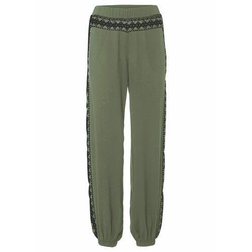 Spodnie z wiązanymi troczkami oliwkowy, Bonprix, 34-46