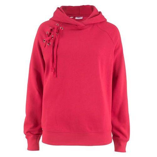 Bluza z kapturem i sznurowaniem czerwony, Bonprix, 40-42