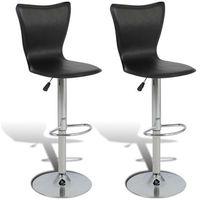 Vidaxl 2 czarne, regulowane, obrotowe stołki barowe