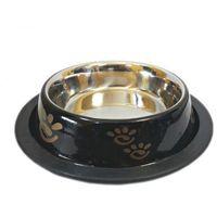 Goldenmarket Miska metalowa dla psa na gumie 0,9 l czarna