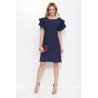 eac56b931f suknie sukienki zolta stylowa sukienka z falbankami na ramionach z ...