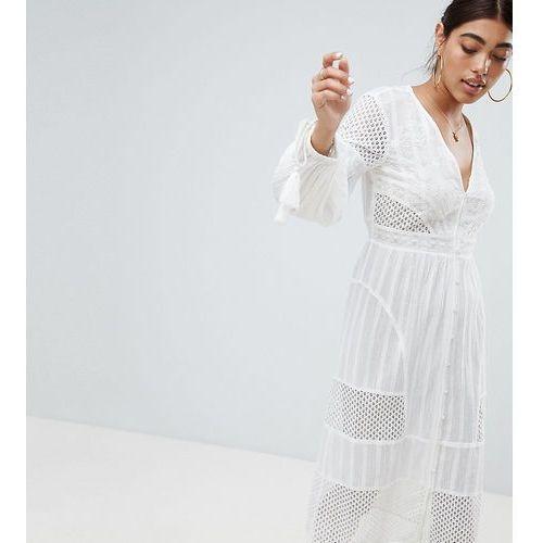 34da9eb0 Tassel Sleeve Broderie Midi Dress - White, kolor biały (River Island)