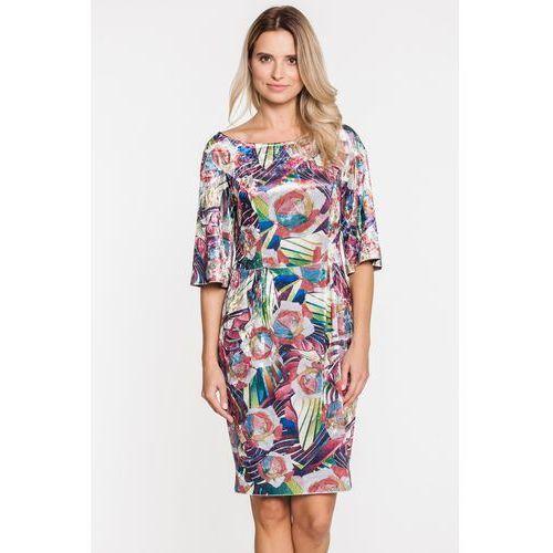 052742802a Welurowa sukienka w kolorowy wzór - Studio Mody Francoise
