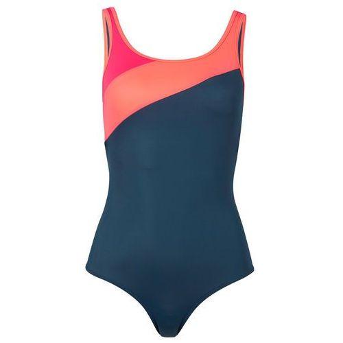 Kostium kąpielowy bonprix ciemnoniebiesko-łososiowy pomarańczowy - różowy hibiskus
