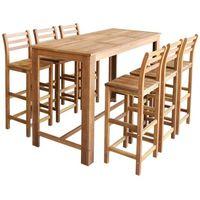 vidaXL Stolik barowy i krzesła, 7 elementów drewno akacjowe (8718476012329)