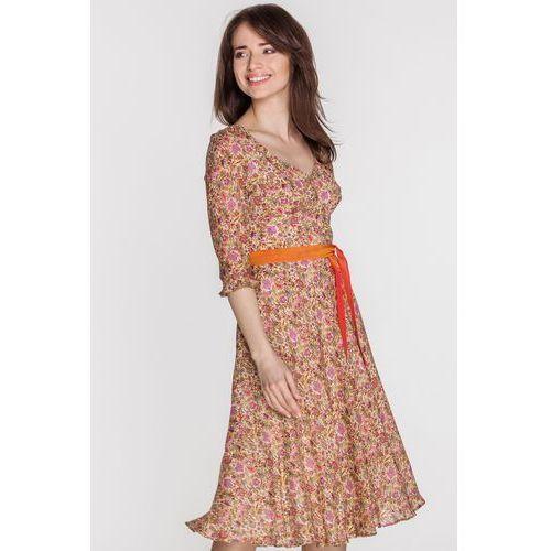 Sukienka w kwiaty z jedwabiem - GaPa Fashion, 1 rozmiar