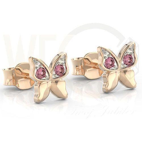 Kolczyki z różowego złota z różowymi cyrkoniami BPK-88P-R-C - Różowe z rodowaniem, kolor różowy