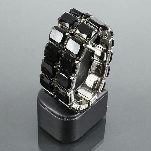 Szeroka bransoletka z dużych czarnych kryształków - czarny, kolor czarny
