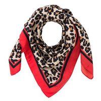 Chusta w cętki leoparda bonprix czarno-jasnobrązowo-czerwony sygnałowy-leo