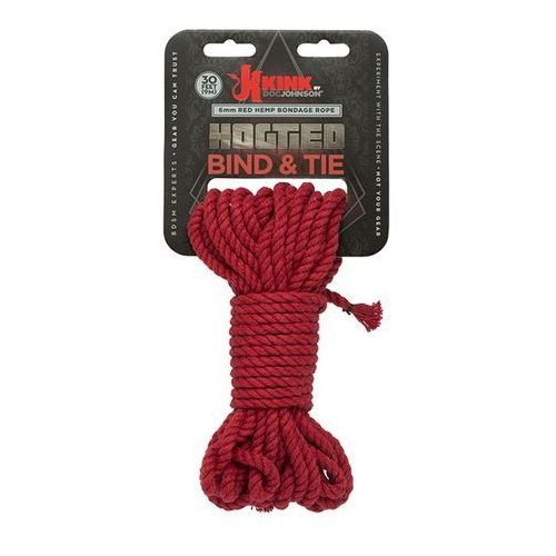 Kink by docjohnson (us) Lina kink hogtied bind & tie 6mm red hemp bondage rope 30 feet | 100% dyskrecji | bezpieczne zakupy