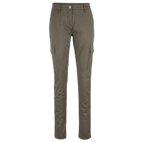 Spodnie alladynki bonprix szary, kolor zielony