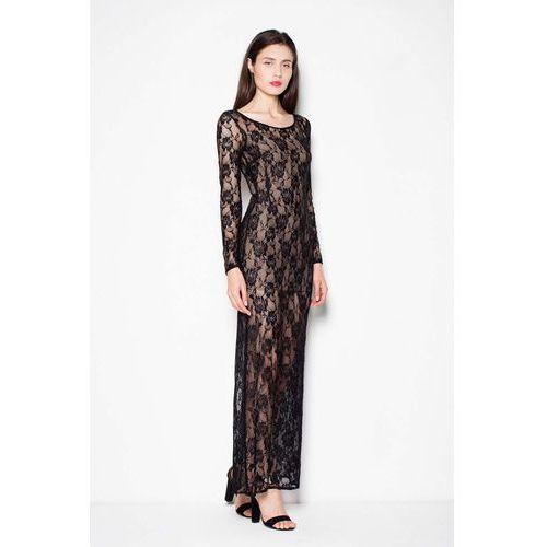 2d70bd843e Venaton Sukienka Wieczorowa Maxi z Czarnej Koronki