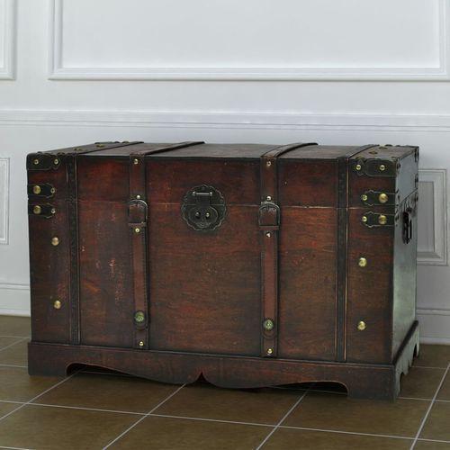 Vidaxl duży, drewniany kufer w kolorze kawy mokka