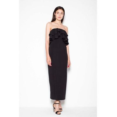 98a773ead3 Czarna Sukienka Długa Elegancka z Falbankami