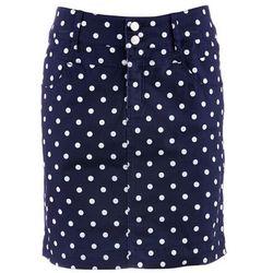 Spódnica ze stretchem z domieszką lycry ciemnoniebiesko-biały w kropki marki Bonprix