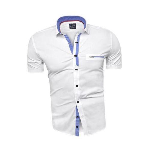 e9e915eff8634f Koszula męska z krótkim rękawem rs11 - biała, Risardi, M-XXXL ceny ...