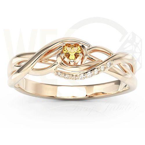 Pierścionek z różowego złota z topazem swarovski i brylantami bp-73p - różowe marki Węc - twój jubiler