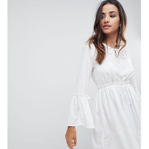78f0e182 Lace Insert Smock Dress - White, kolor biały (Boohoo)