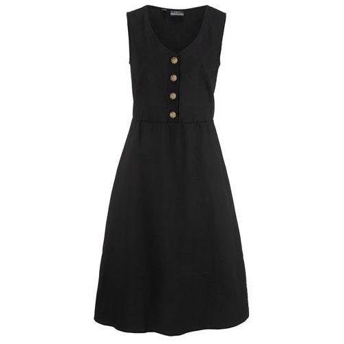 Sukienka lniana midi z plisą guzikową bonprix czarny, w 9 rozmiarach