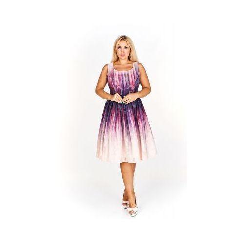 Kolorowa Rozkloszowana sukienka do kolan na wesele, kolor wielokolorowy