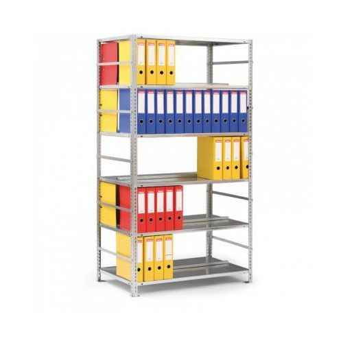 Regał na segregatory compact, 8 półek, 2550x1250x600 mm, szary, podstawowy marki Meta