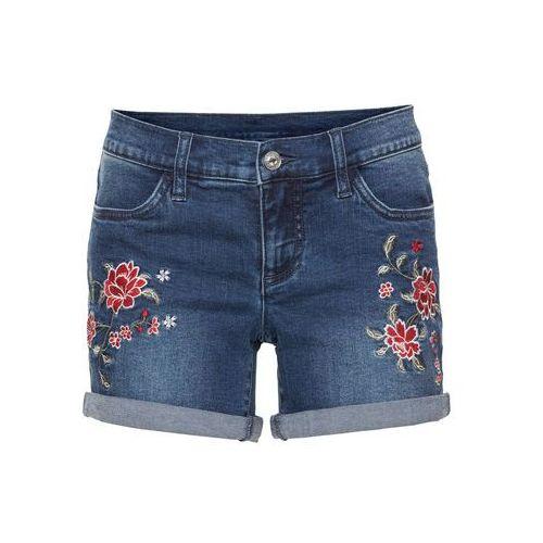 """b97174f81 Szorty dżinsowe z haftem niebieski """"stone"""" (bonprix) - sklep ..."""