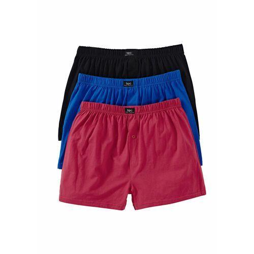 Luźniejsze bokserki z dżerseju (3 pary) czarny + niebieski + czerwony marki Bonprix