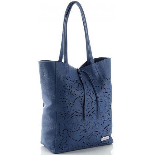 0a732731a93ef Modne Ażurowe Torebki Skórzane ShopperBag firmy Vittoria Gotti Jeansowe  (kolory)