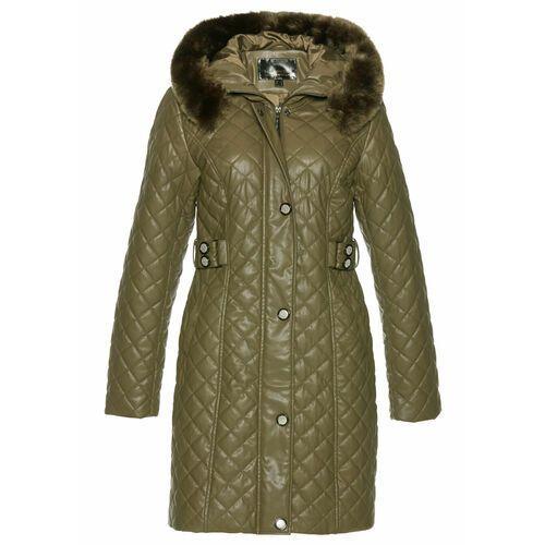 Krótki płaszcz pikowany z materiału w optyce sztucznej skóry zielony khaki, Bonprix, 36-54