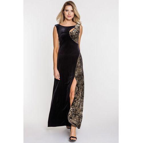 Długa suknia wieczorowa z weluru - Studio Mody Francoise, wieczorowa
