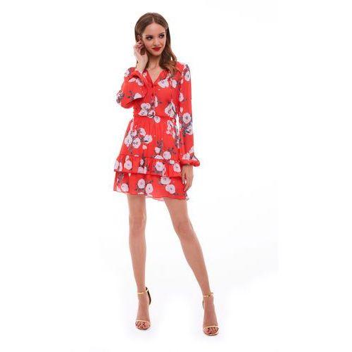 Sukienka sabia czerwona w kwiaty, Sugarfree, 34-40