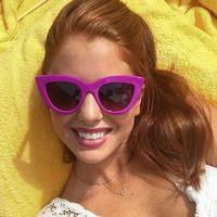 Okulary przeciwsłoneczne damskie kocie oko fiolet - fiolet