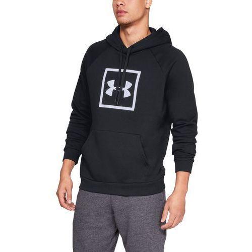 bluza z kapturem rival fleece logo hoodie czarna - czarny marki Under armour