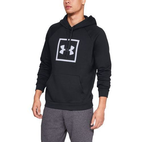 Under armour bluza z kapturem rival fleece logo hoodie czarna - czarny (0192006916666)