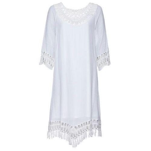 Sukienka z szydełkowymi wstawkami bonprix biały