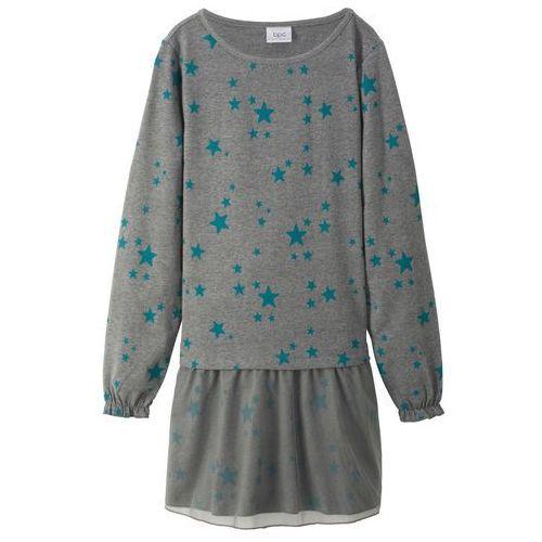 Bonprix Sukienka z długim rękawem i tiulową spódnicą szary melanż - turkusowy