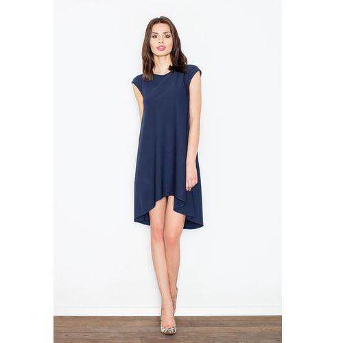 f43ca2d2b2 Zobacz ofertę Granatowa Rozkloszowana Asymetryczna Sukienka z Półrękawkiem