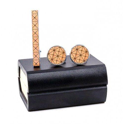 Niwatch Komplet spinek drewnianych do mankietów i krawata z01